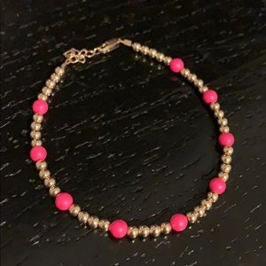 Gold and pink beaded bracelet
